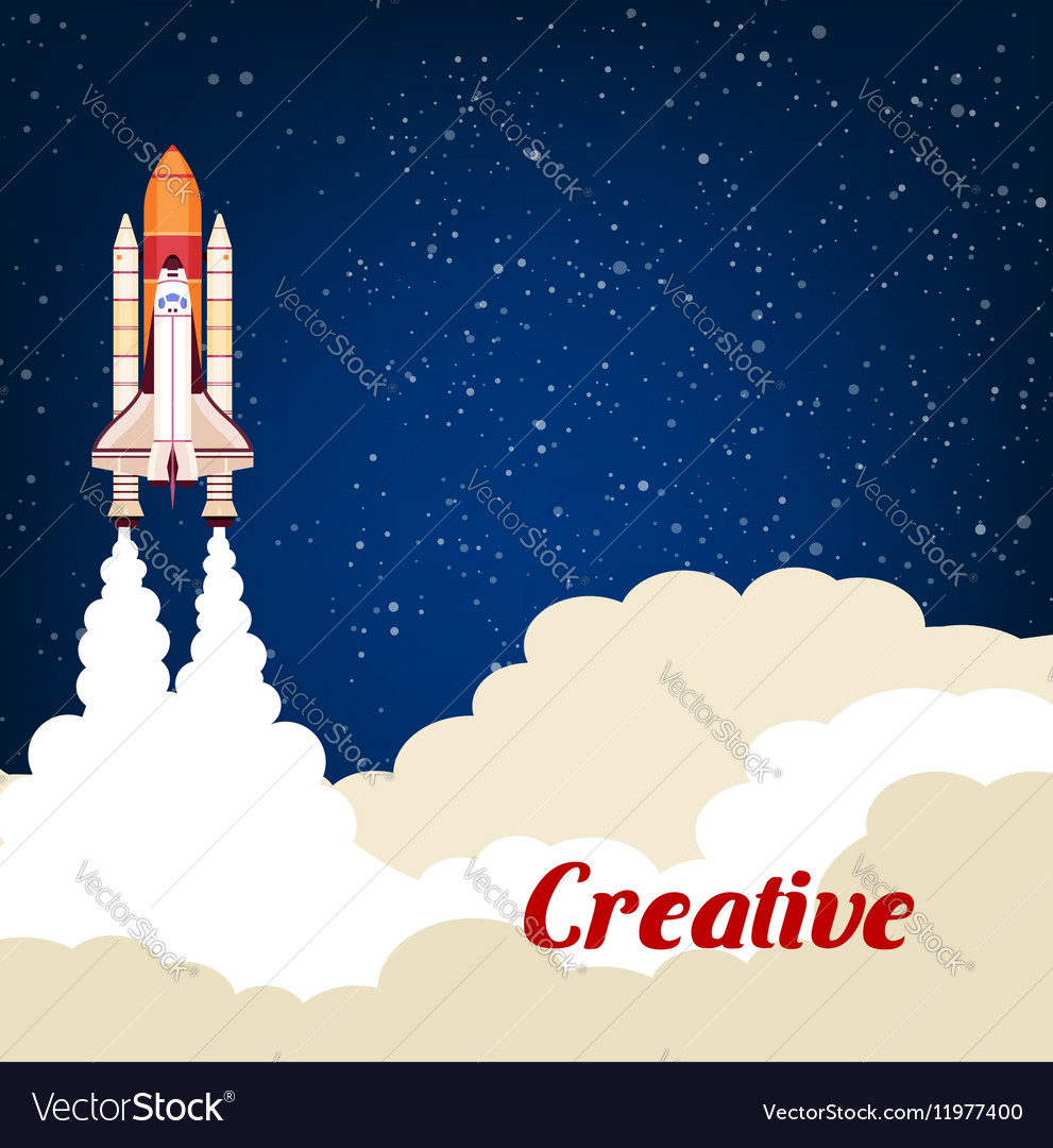 Creative poster with rocket srart launch vector