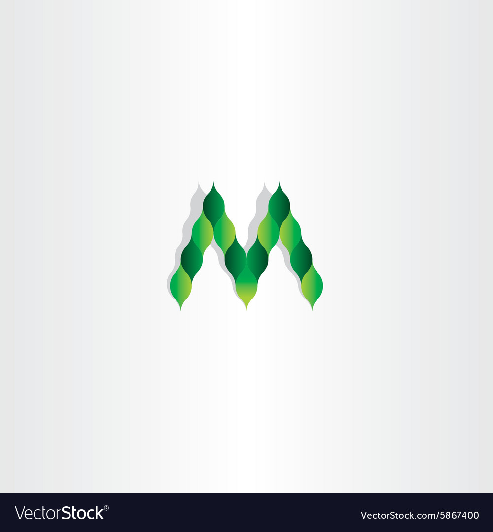 Green leaves letter m logotype symbol vector