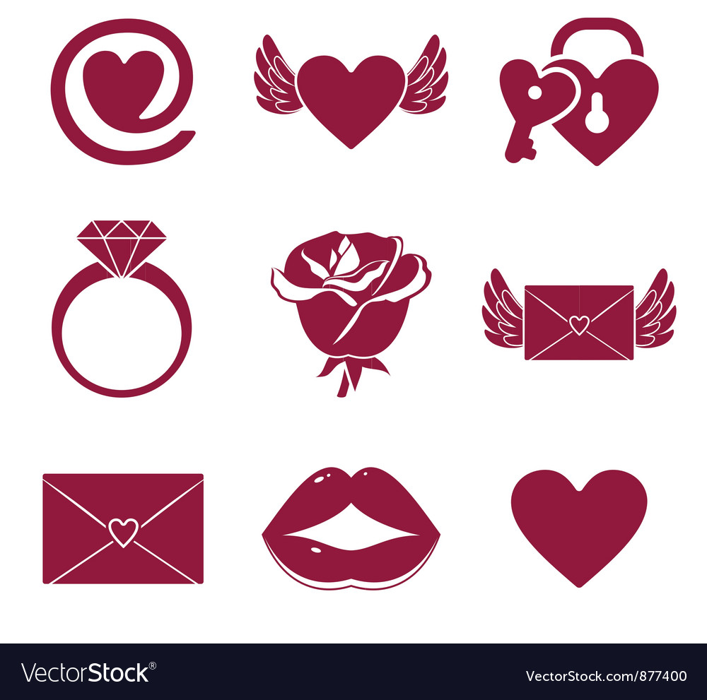 Romantic icons vector