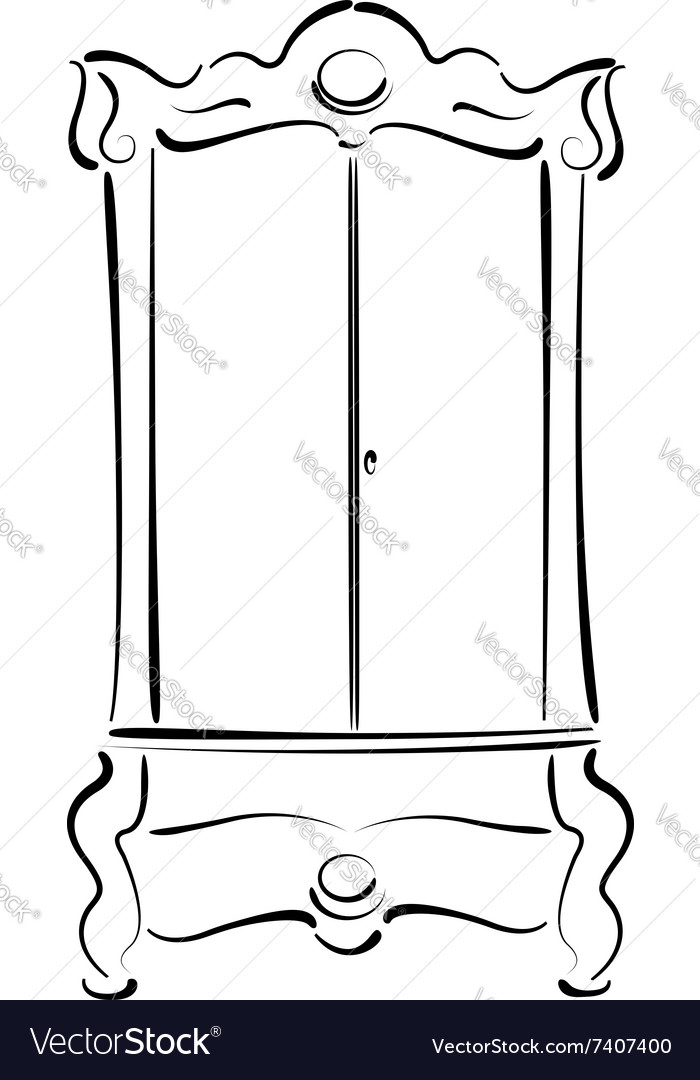 Sketched vintage wardrobe isolated on white vector