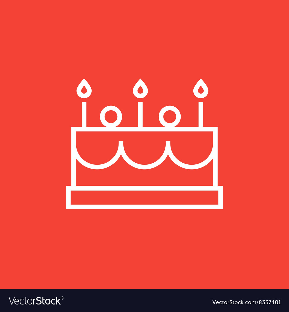 Birthday cake with candles line icon vector