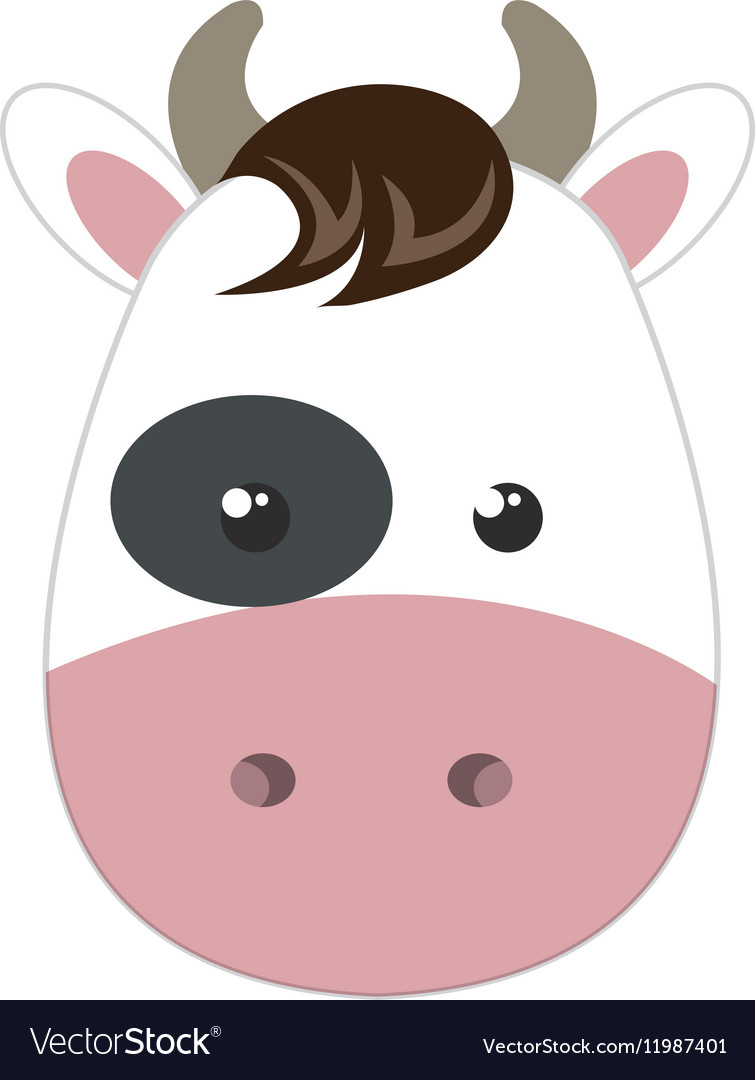 Cute little cow animal character vector