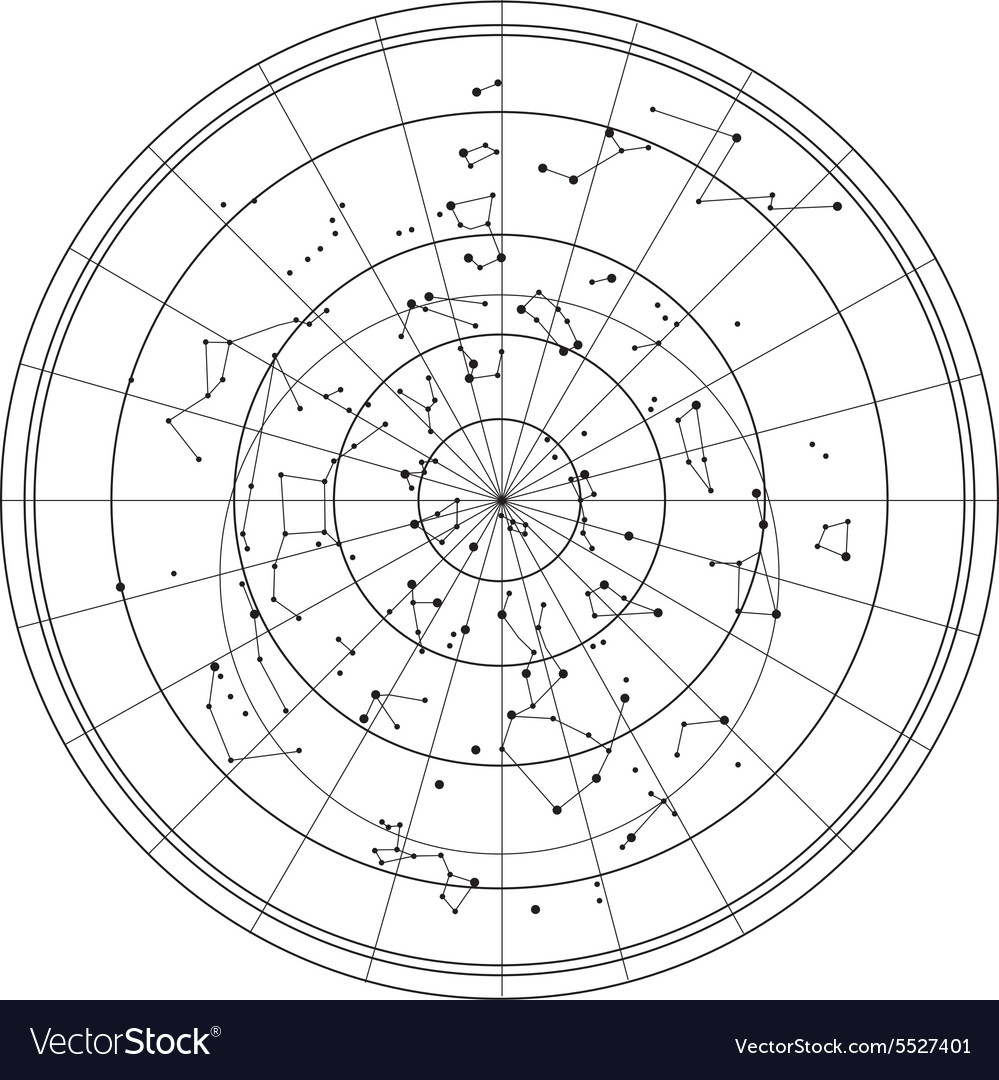 Sky map with stars and constellations vector
