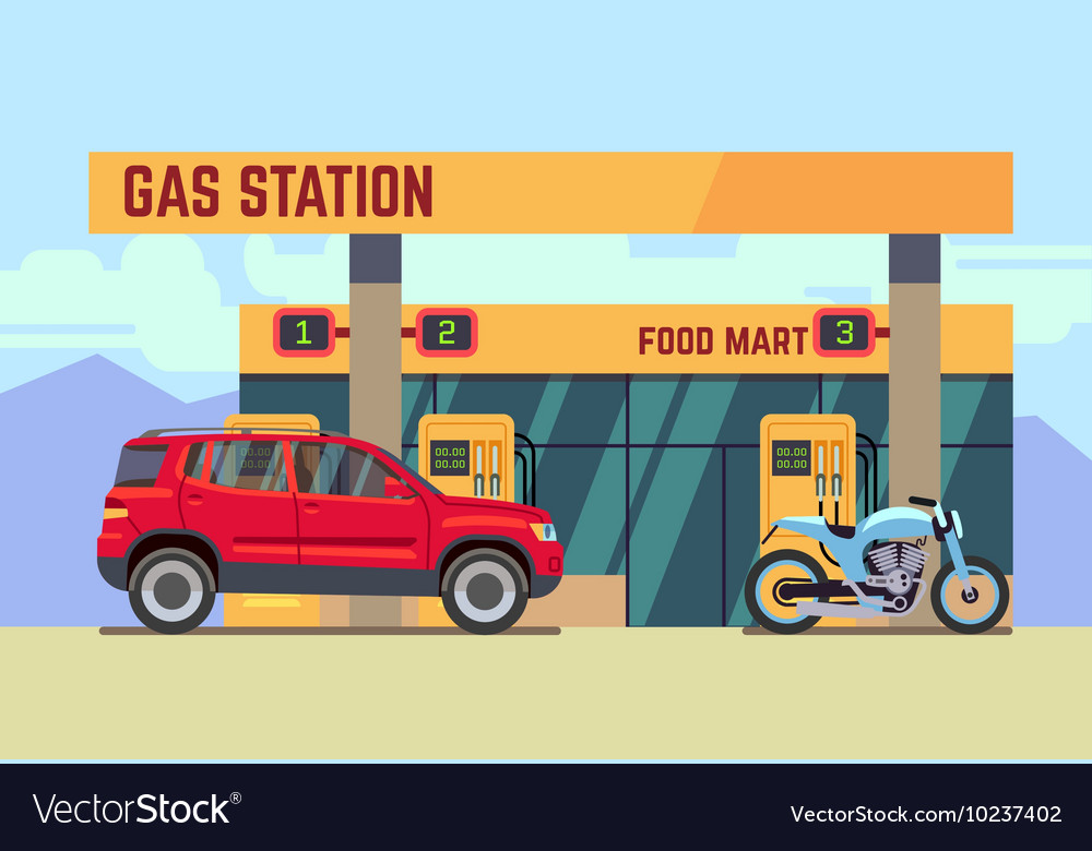 Cars and motorcycles at gas filling station flat vector