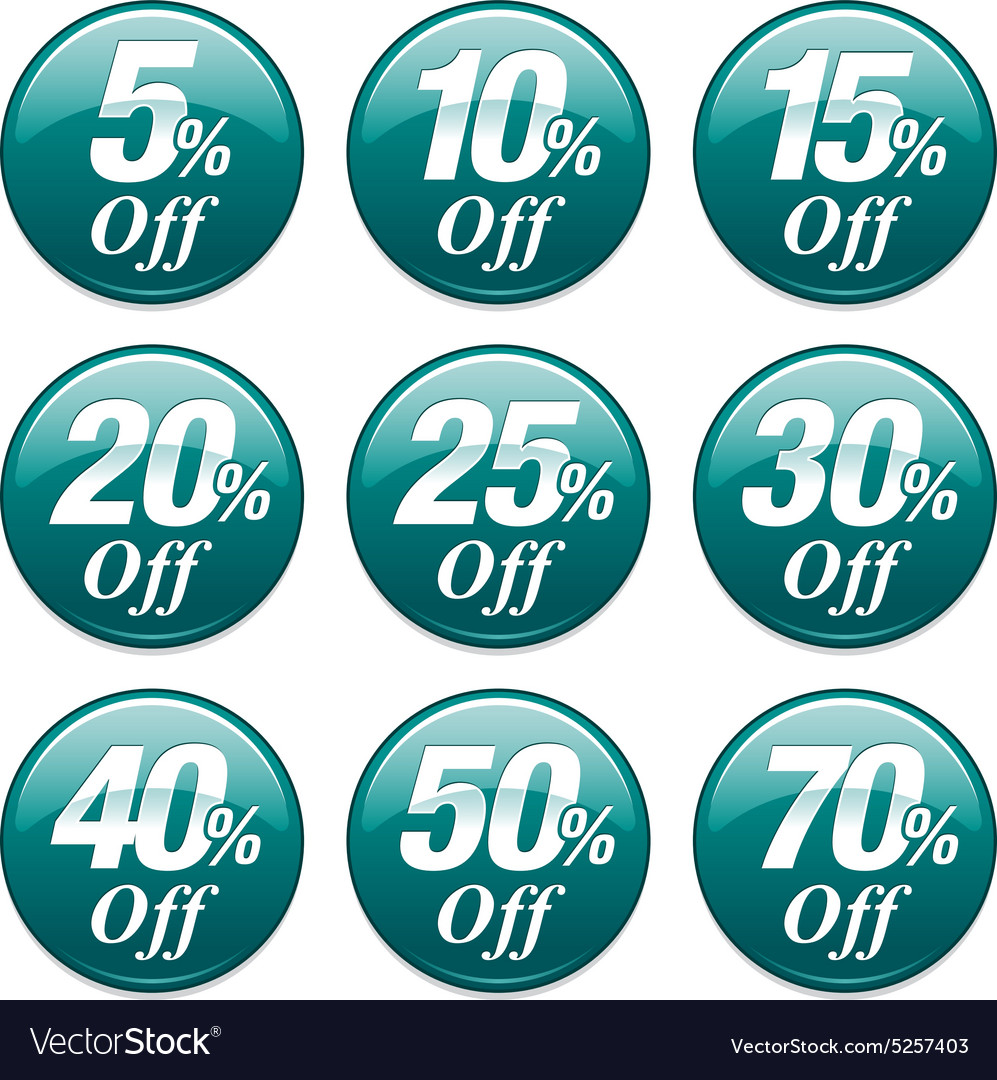 Shopping sale discount badge in teal vector