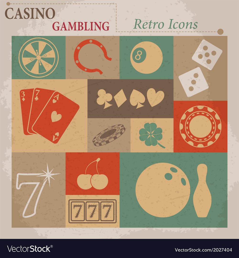 Casino and gambling flat retro icons vector