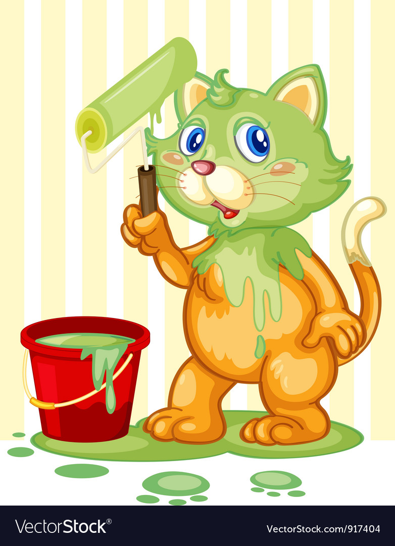 Cat spilling paint vector