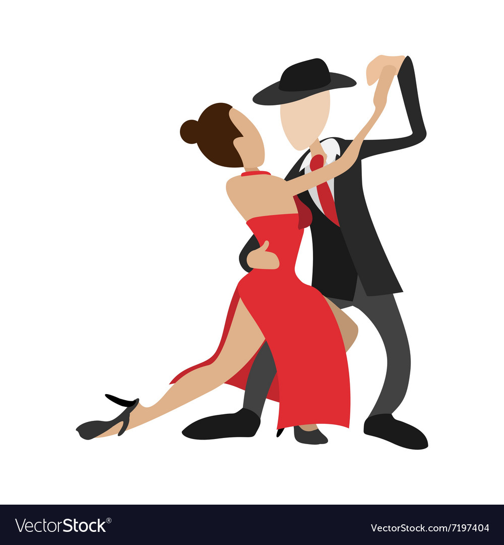 Couple dancing tango cartoon icon vector