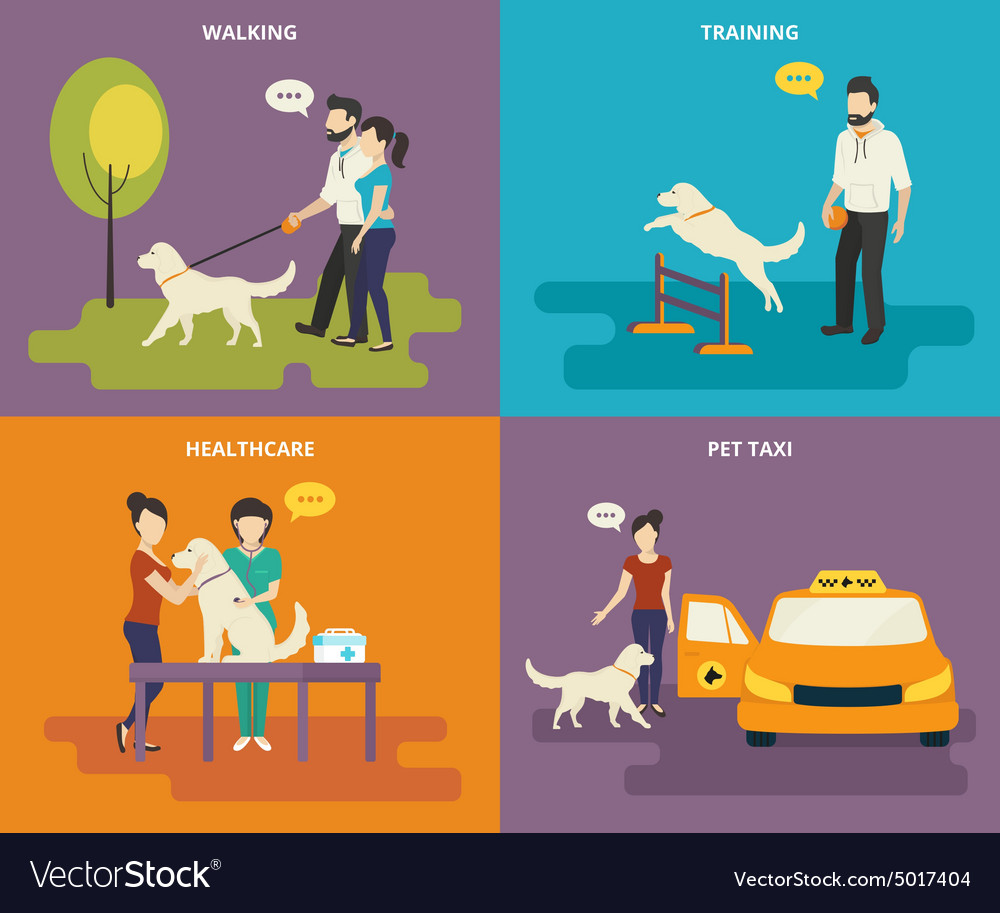 Family with pet concept flat icons set vector