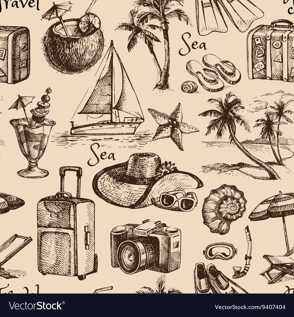 Travel and vacation vintage seamless pattern hand vector