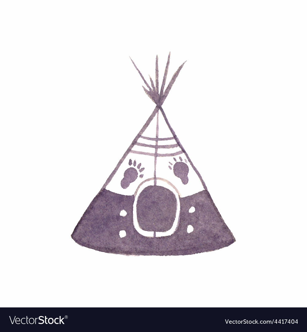 Watercolor teepee on the white background vector