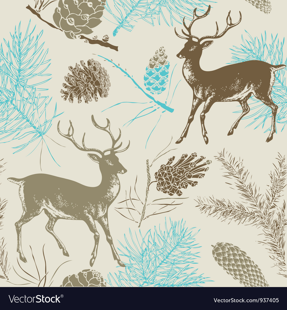 Vintage deer forest pattern vector