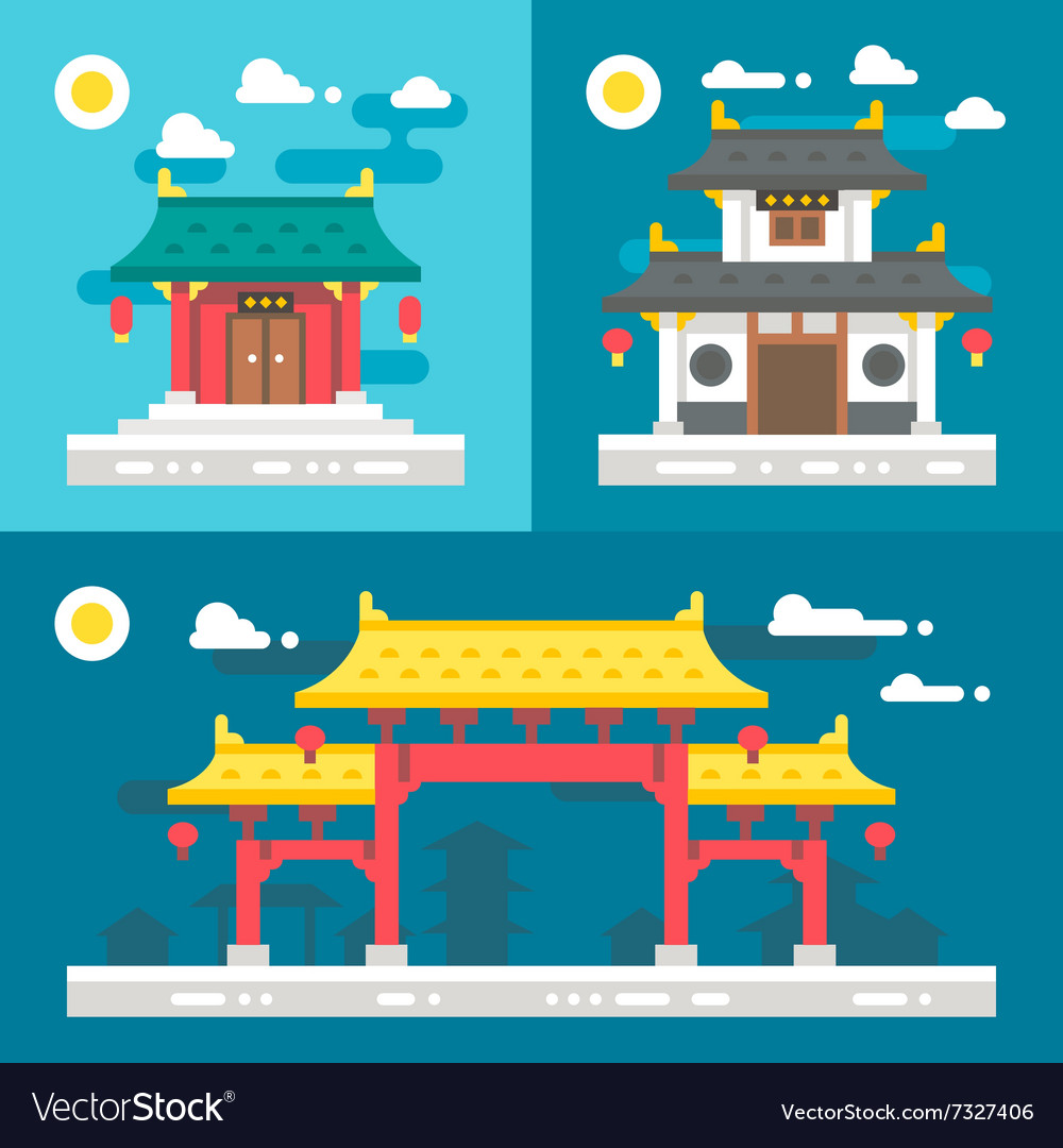 Flat design old chinese buildings vector