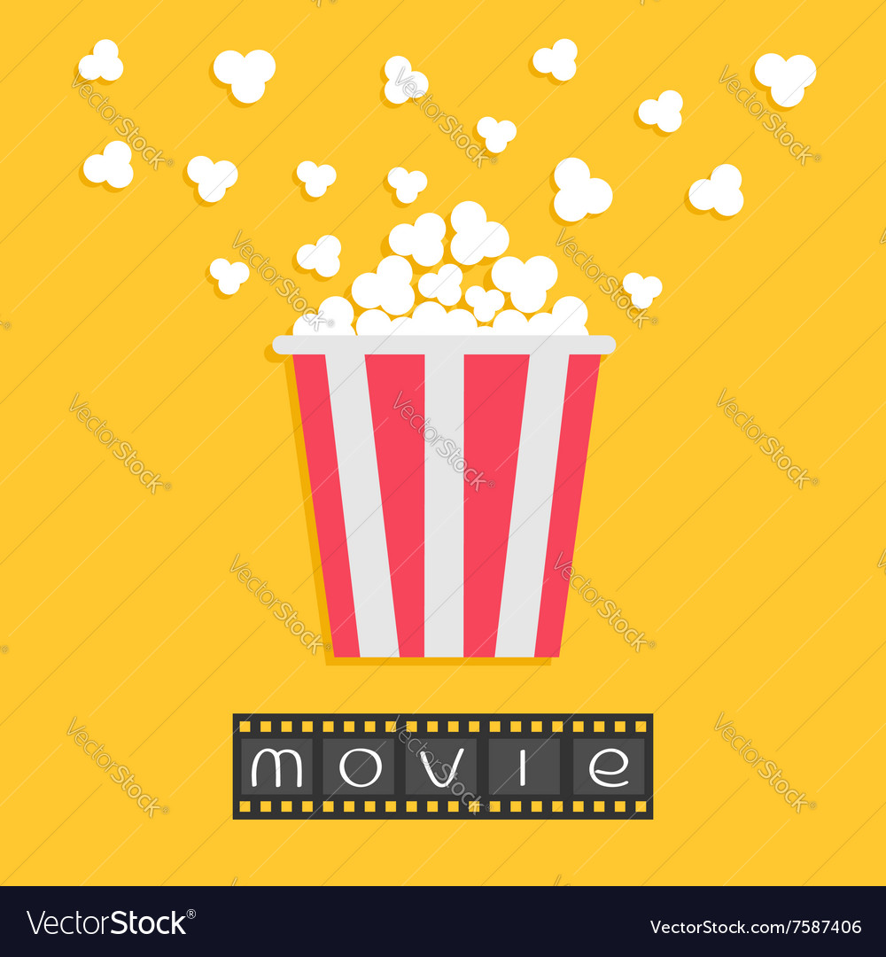 Popcorn film strip red yellow box cinema movie vector