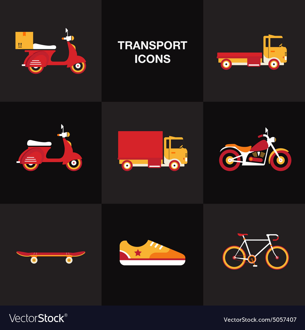 Flat transport vehicle icon set vector