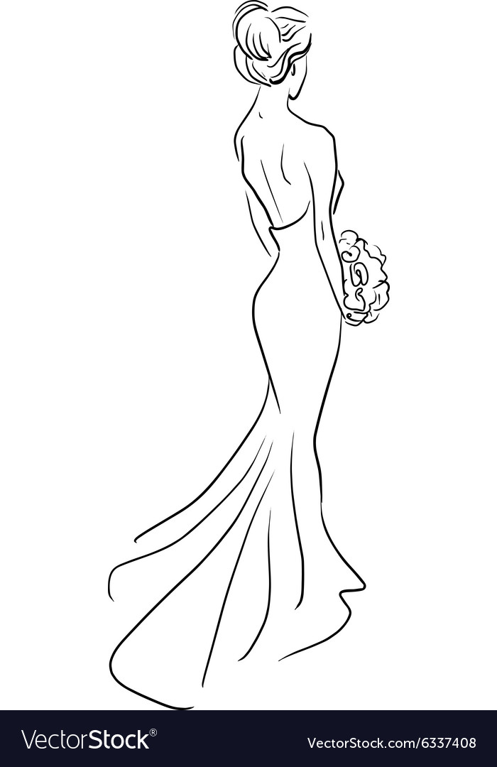 Bride back with bouquet of flowers vector