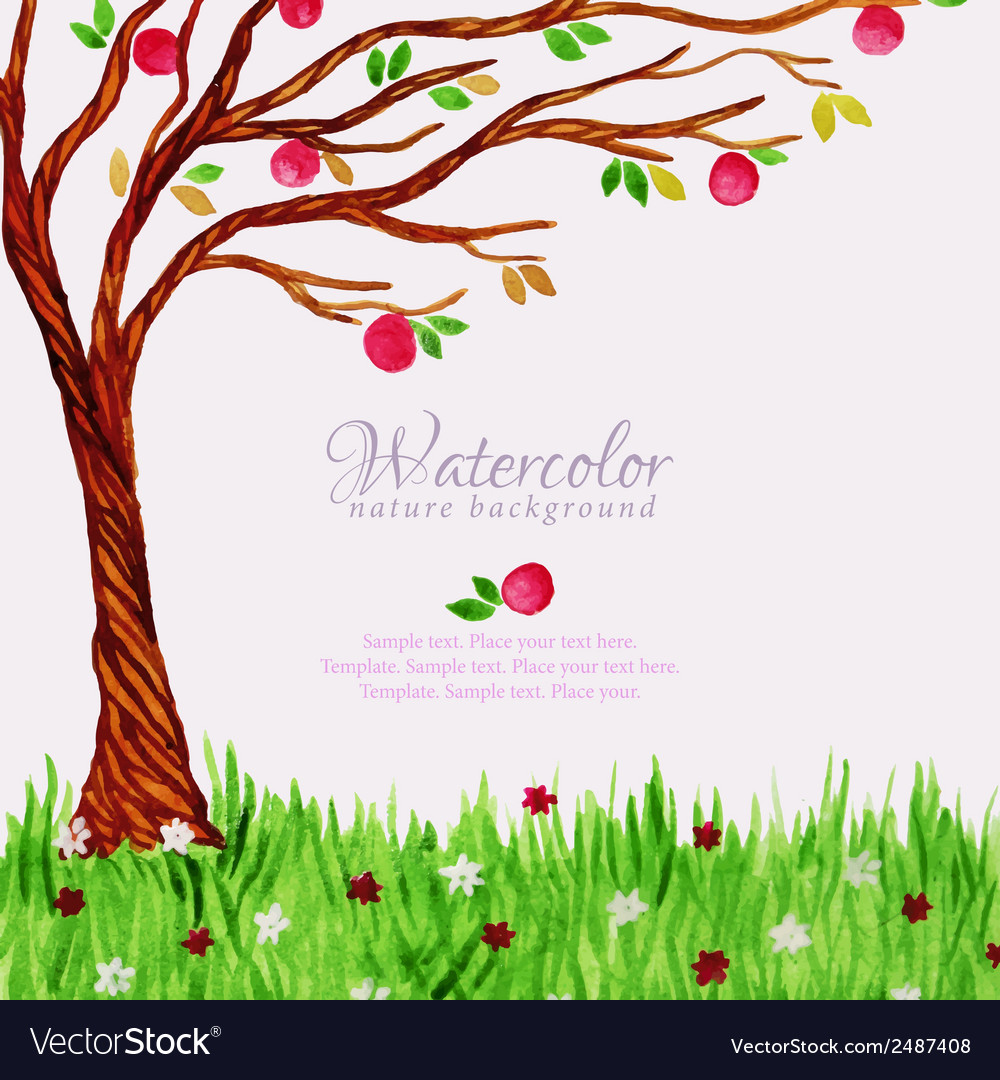 Watercolor tree with apples and grass vector
