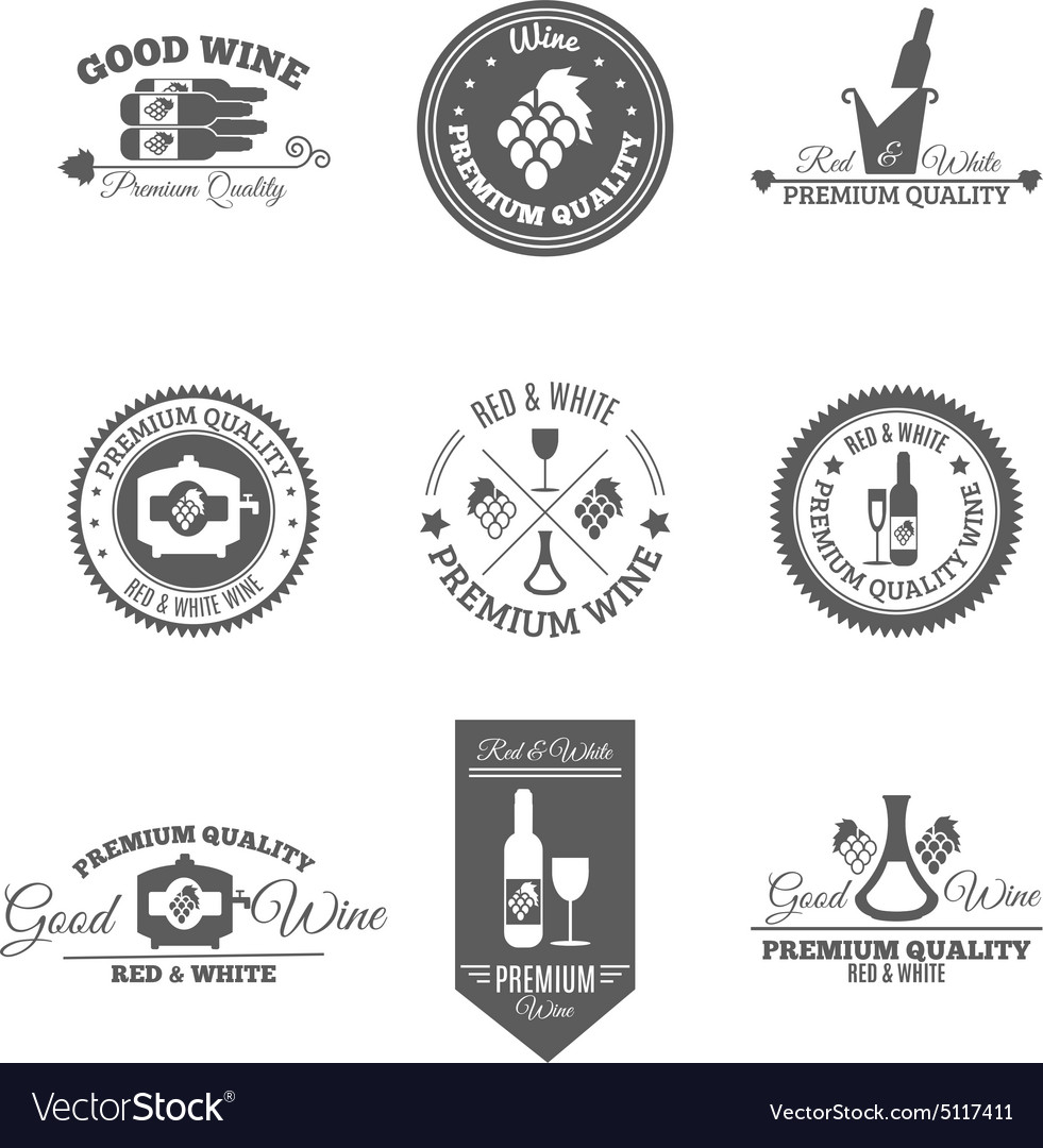 Wine flat labels set vector