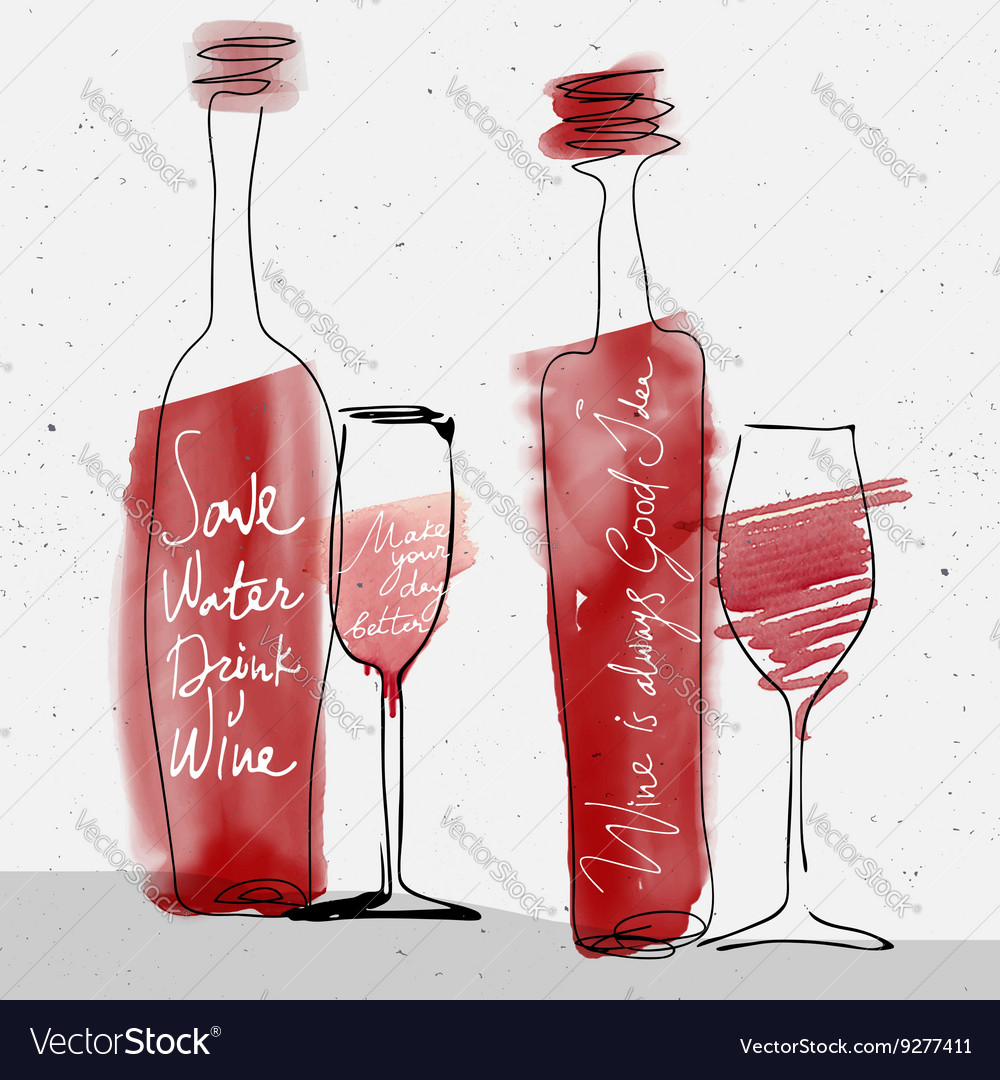 Wine glass and bottle red watercolor sketched vector