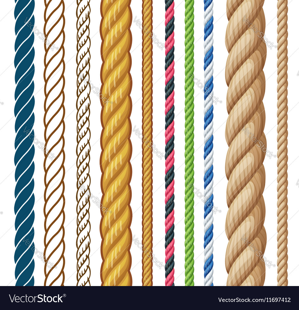 Ropes set cartoon isolated on vector