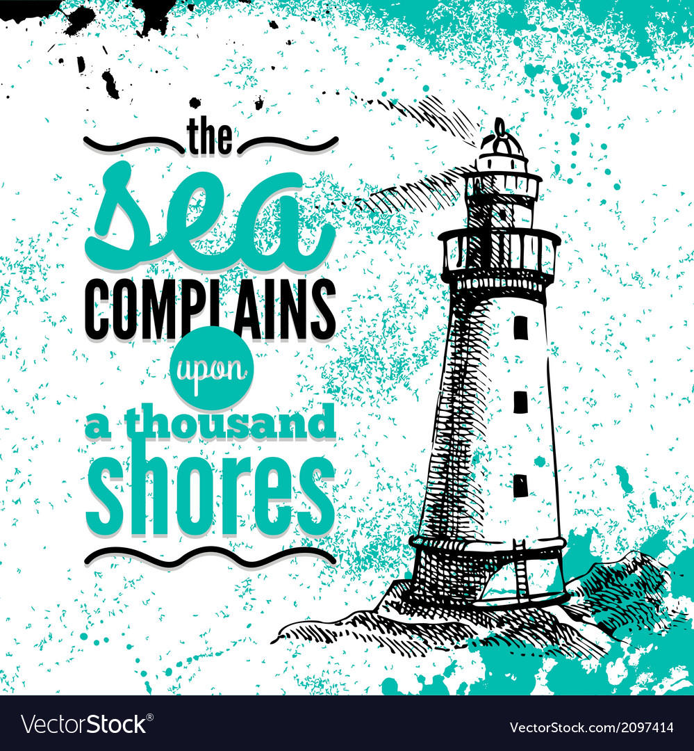 Travel grunge background sea nautical design vector