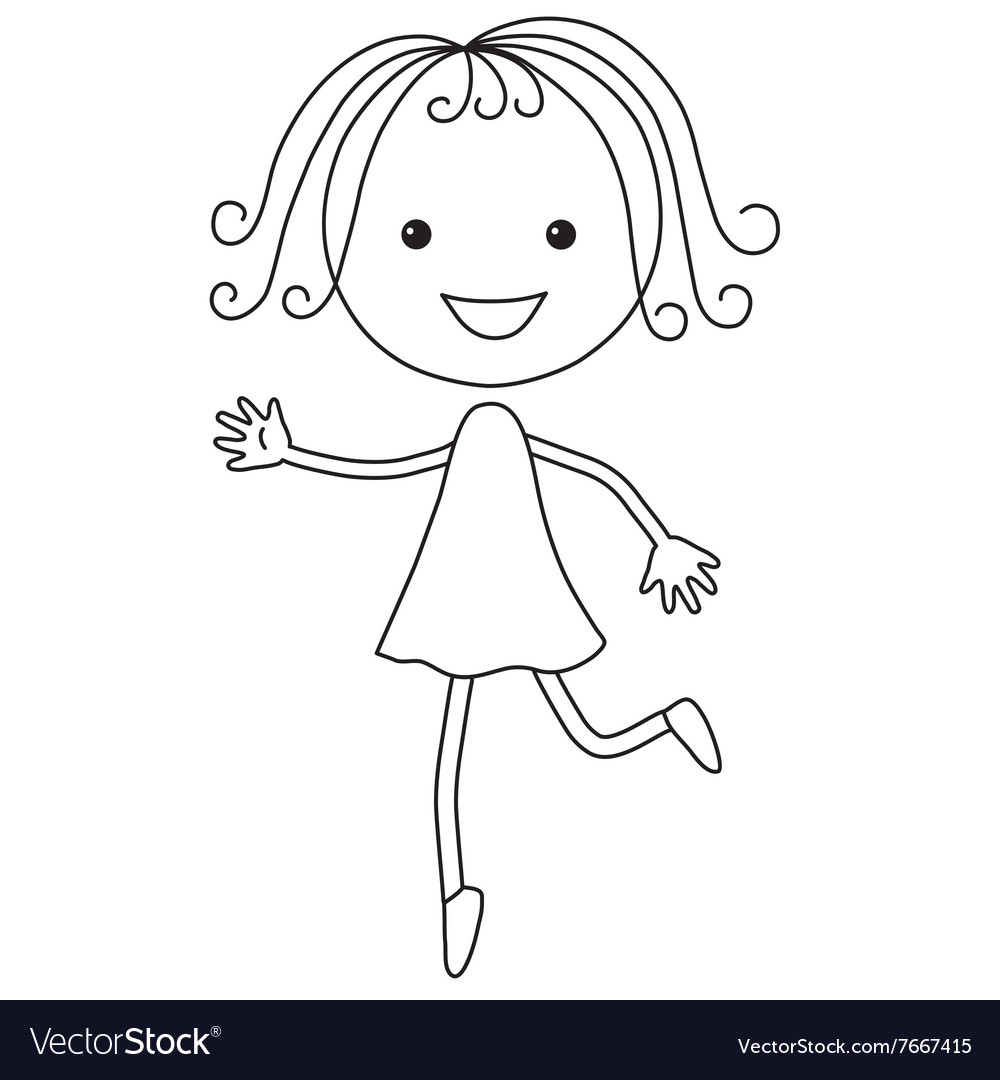 Cartoon girl in black color vector