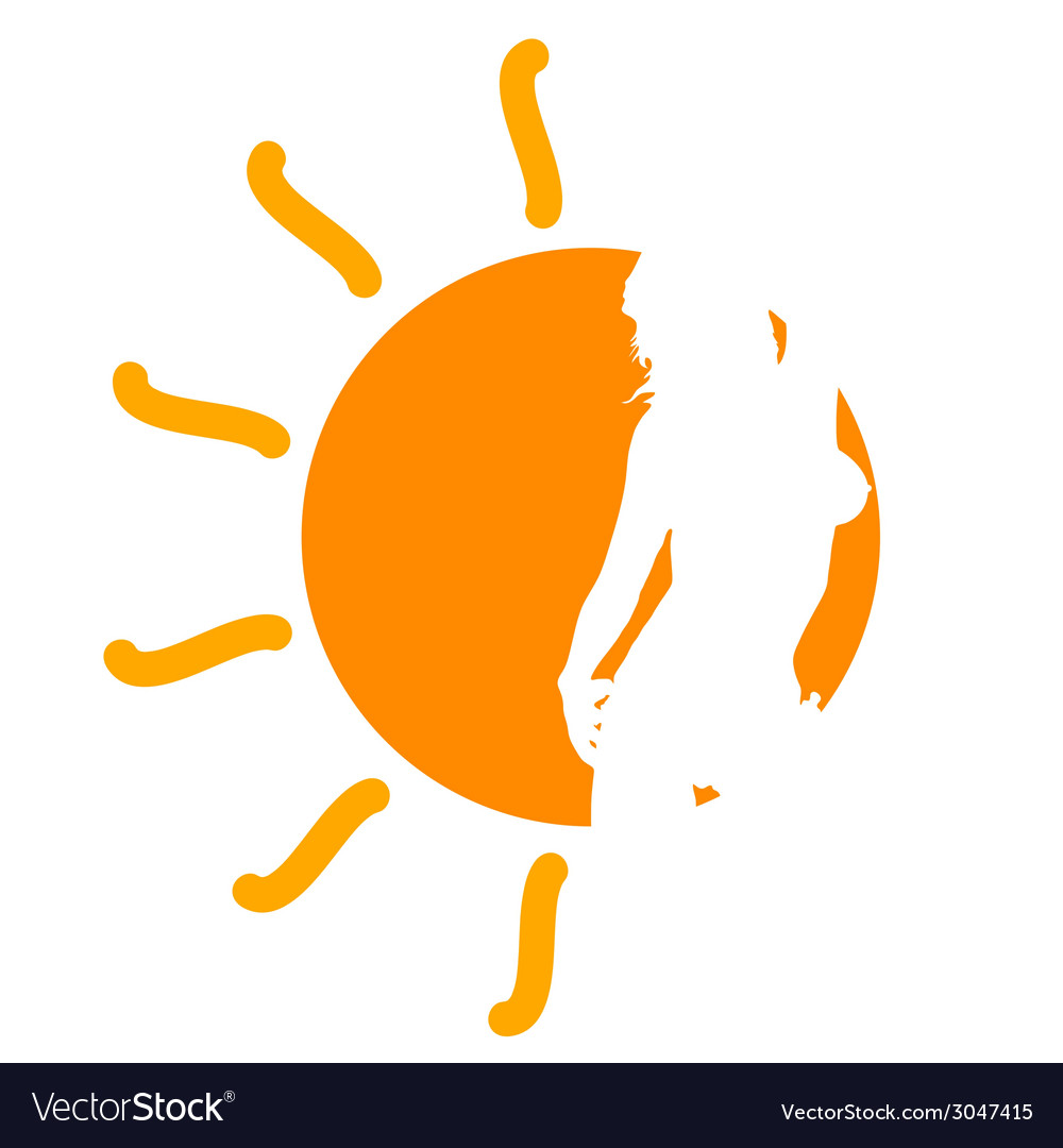 Girl in the sun vector