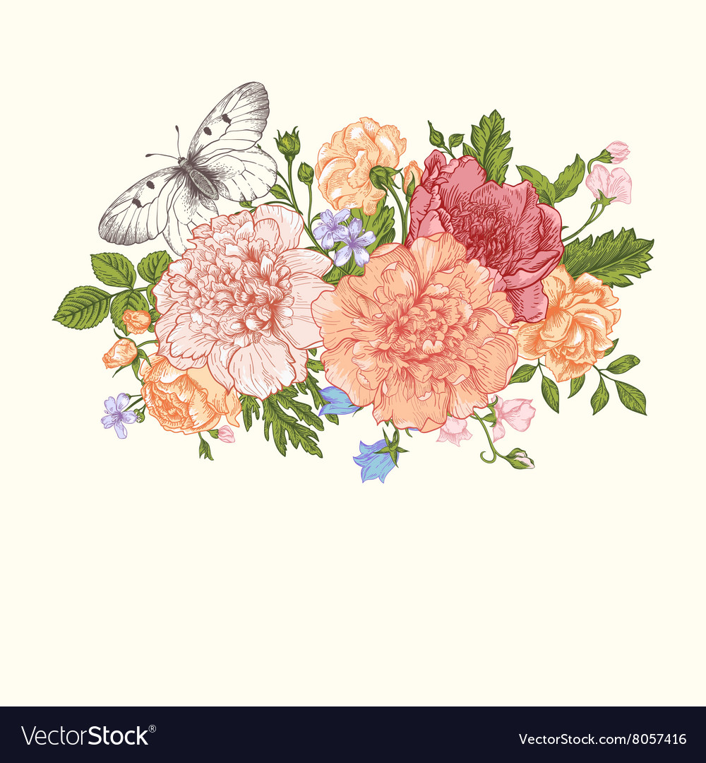 Floral background card with a bouquet vector