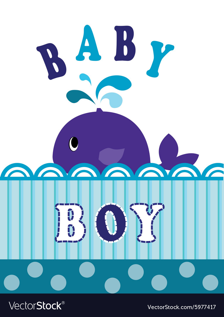 Whale baby boy vector