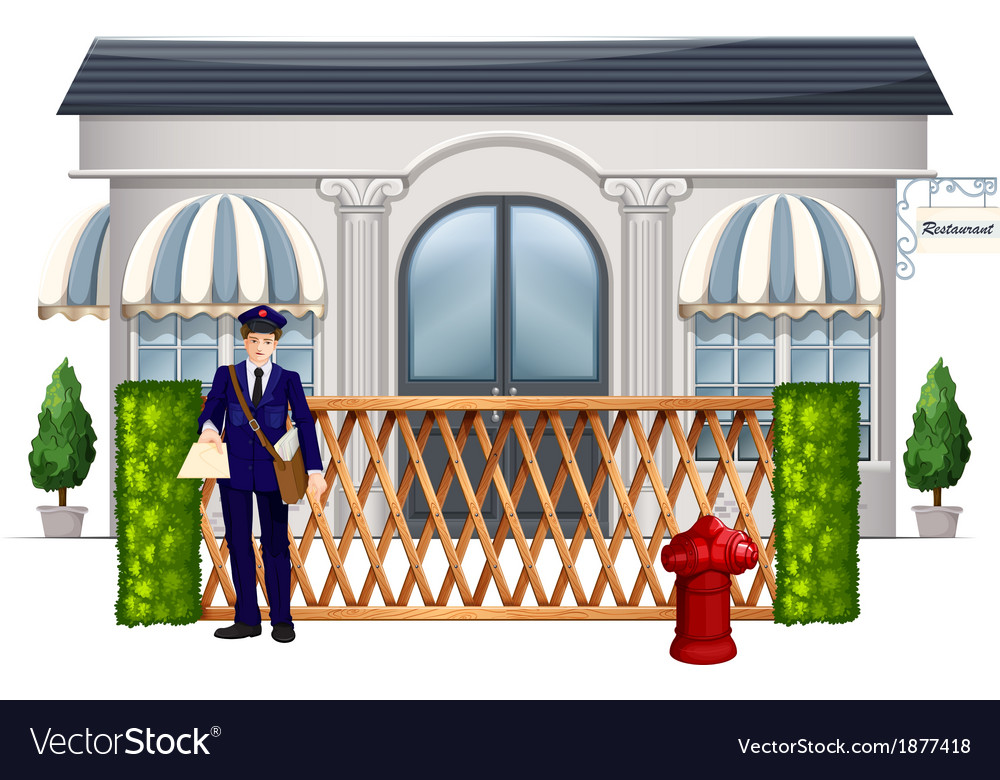 A delivery man outside the restaurant vector