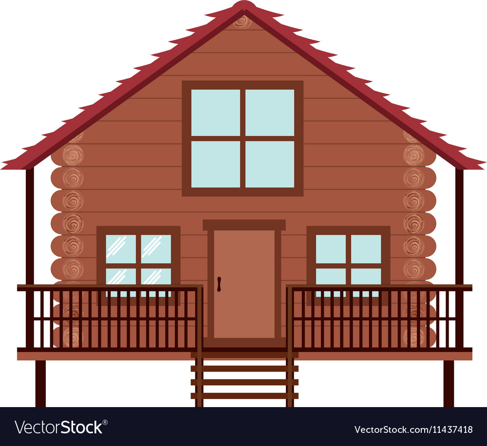 Log cabin icon vector