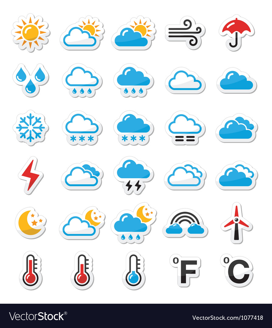 Weather icons set  labels vector