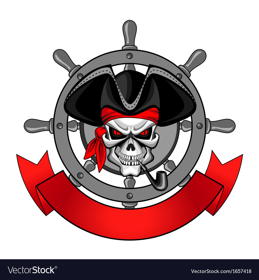 Wheel of the ship and the skull vector