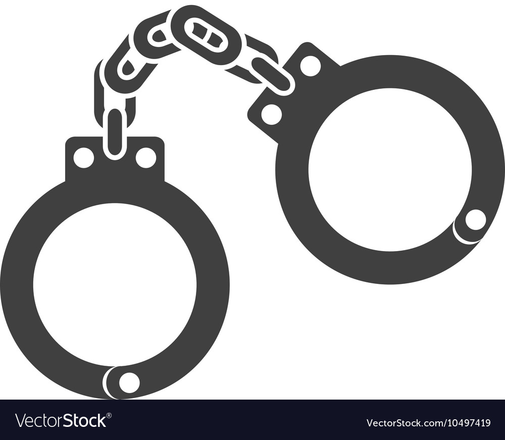 Icon handcuffs police safe isolated vector