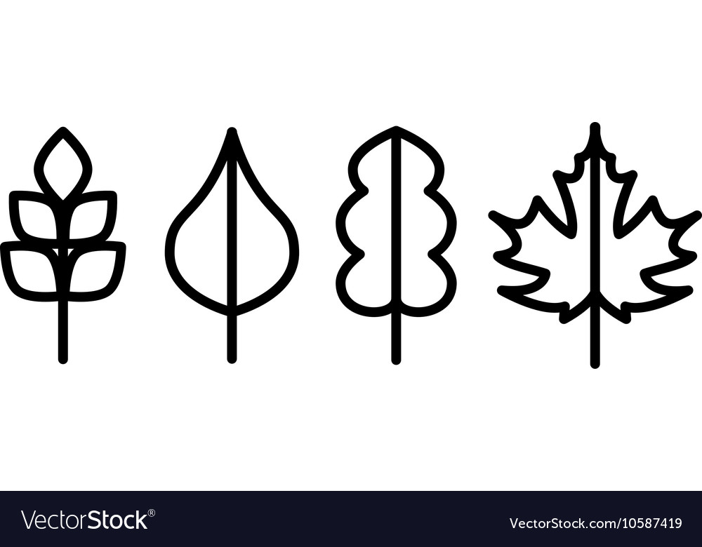 Thin line tree leaf icons vector