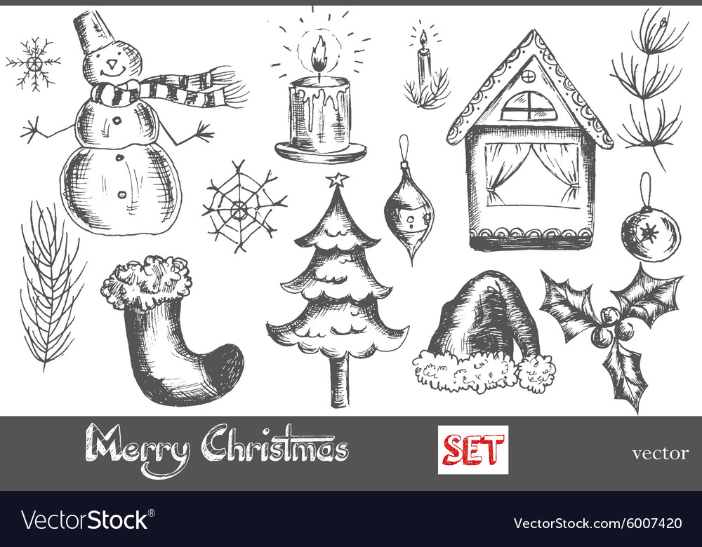 Hand drawn new year and merry christmas set vector
