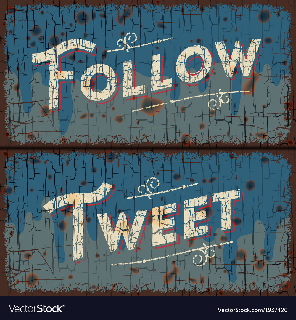 Tweet follow words  social media concept vector