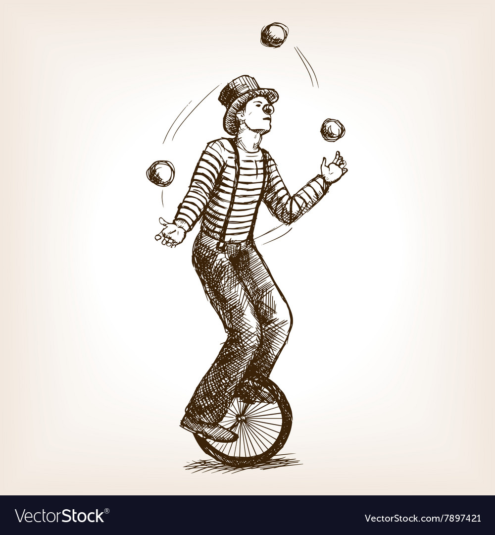 Juggler man on retro old unicycle sketch vector
