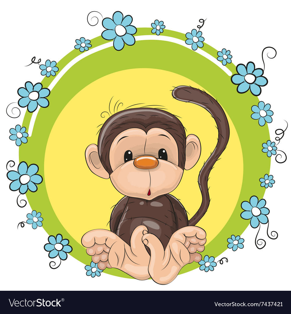 Monkey with flowers vector