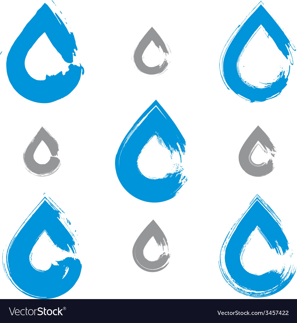 Set of handpainted blue water drop icons isolated vector