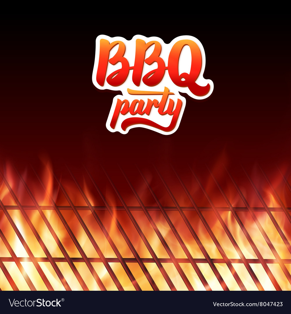Bbq party text grill and burning fire flames vector