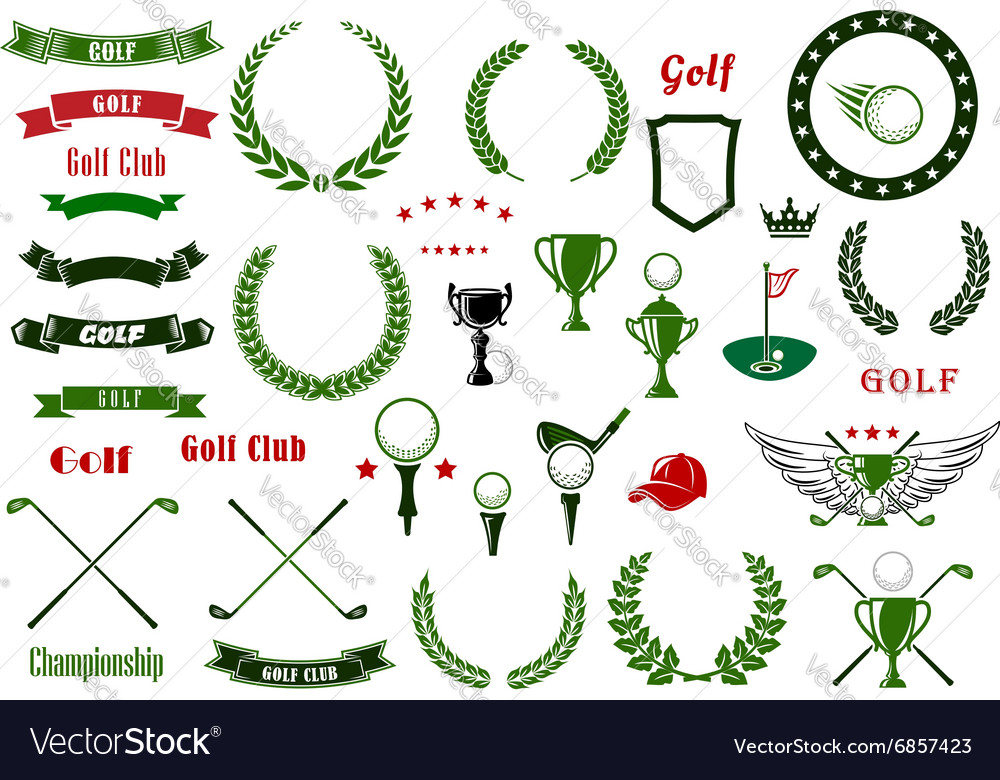 Golf and golfing sport elements or items vector