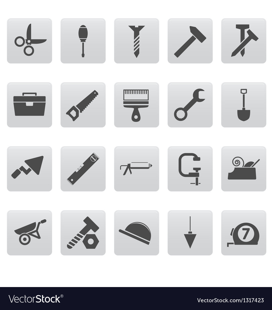 Tools icons on gray squares vector