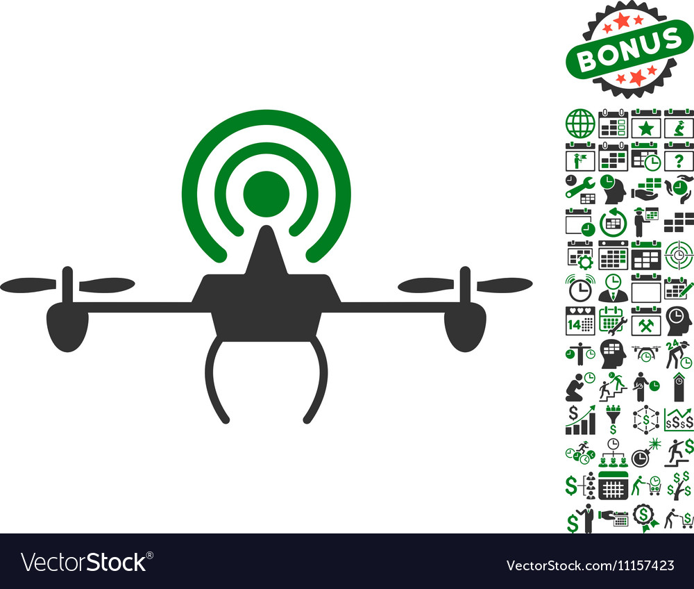 Wifi repeater drone icon with bonus vector