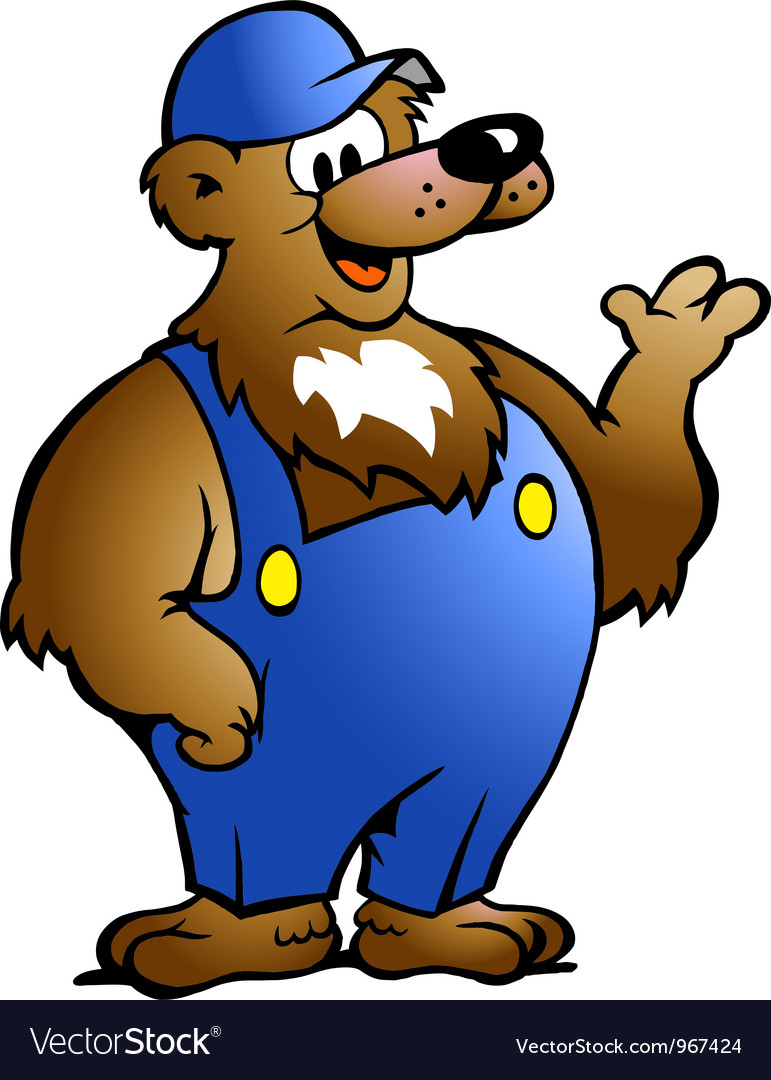 Handdrawn of an bear in blue overalls vector