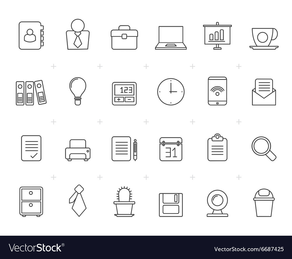 Painted with lines business and office icons vector
