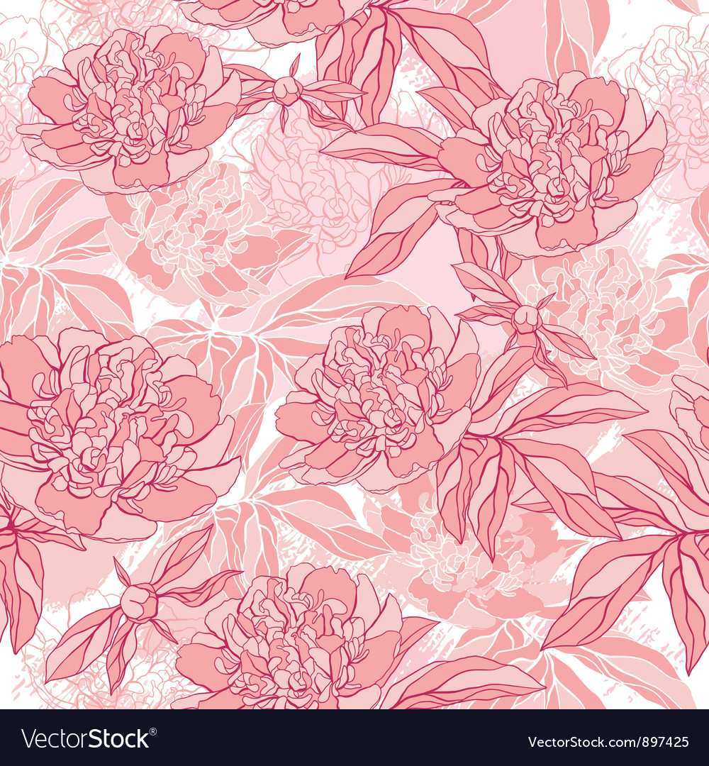 Pattern with peony and foliage hand drawn vector