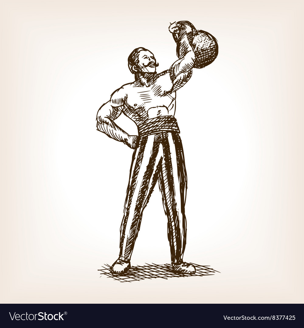 Strong man with kettlebell sketch vector