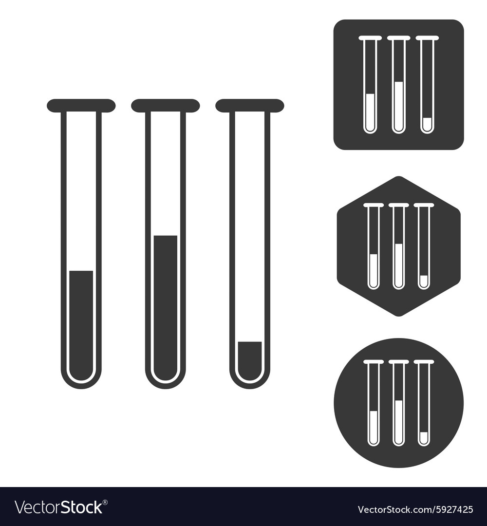 Testtubes icon set monochrome vector