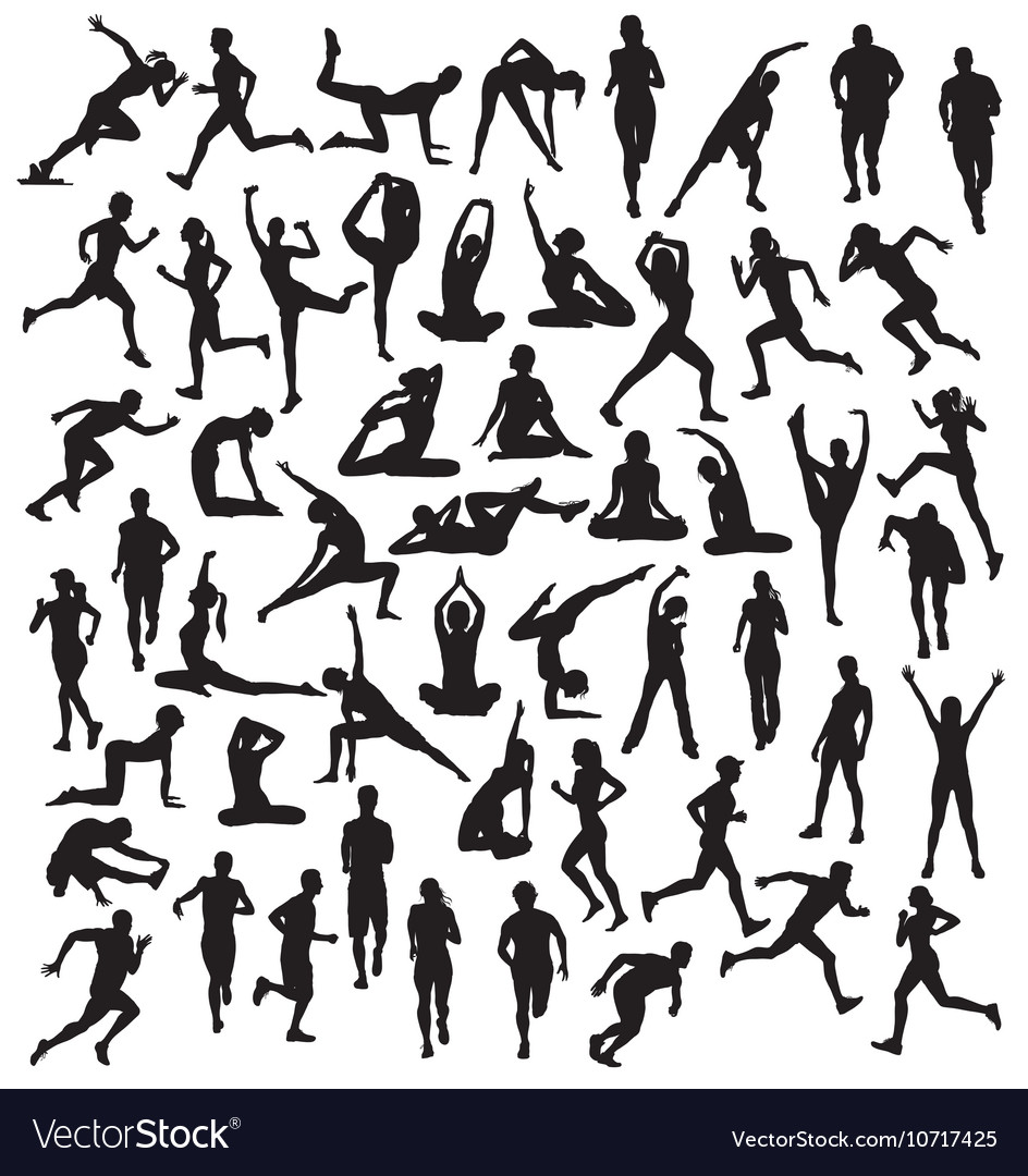 Various silhouettes sports activities vector